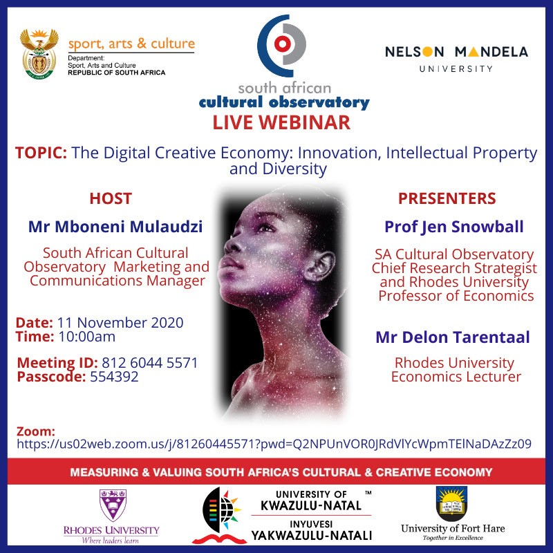 South Africa Cultural Observeory_Live Webinar event_11 Nov 2020