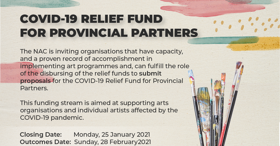 COVID-19 Relief Fund Provincial Partners NAC National Arts Council South Africa Arts Creative sector