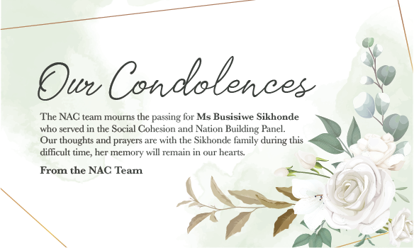 passing of Ms Busisiwe Sikhonde who served on the Social Cohesion and Nation Building Panel