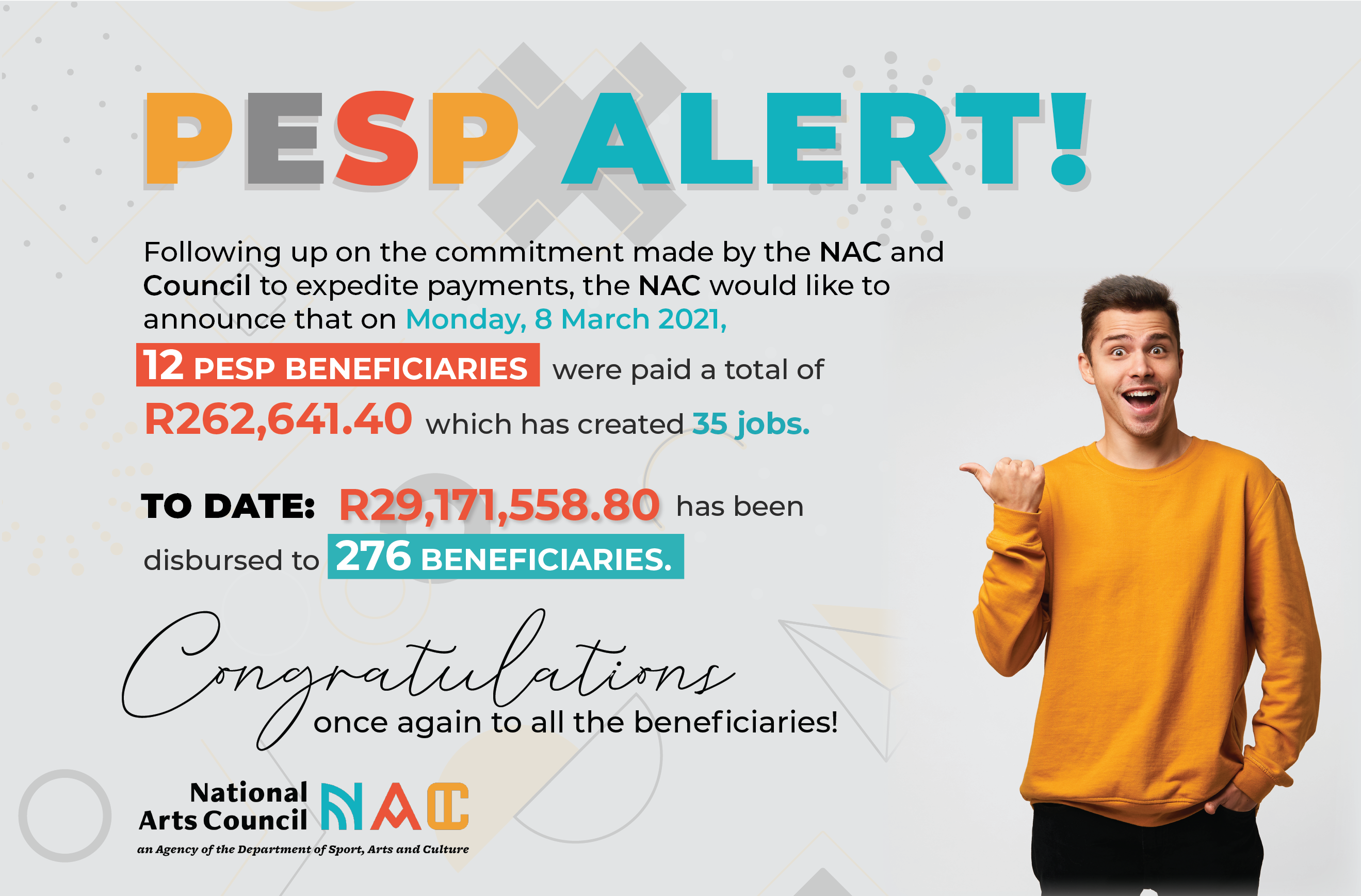 ESP National Arts Council of South Africa Update Payments