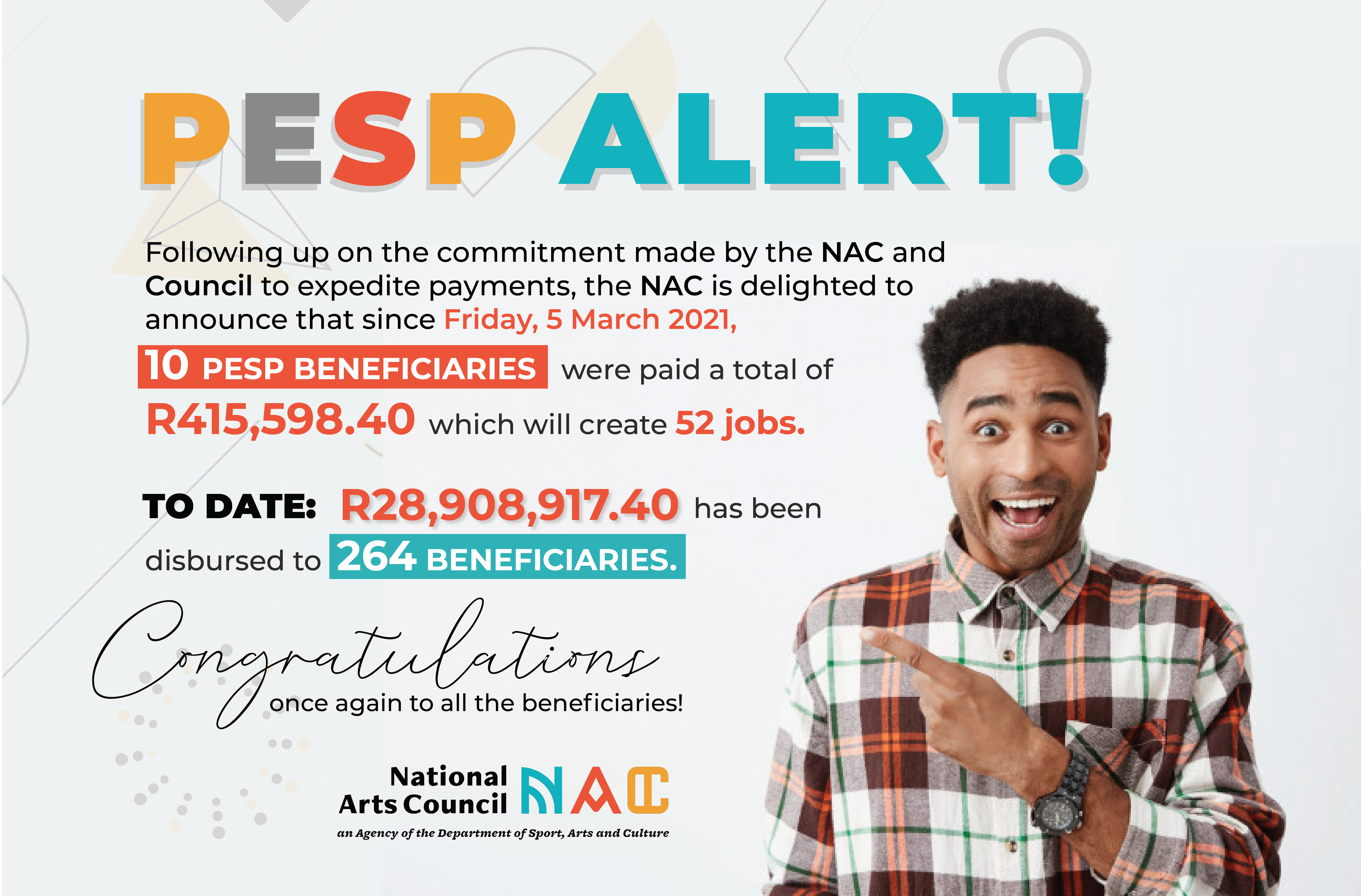 PESP National Arts Council of South Africa Update Payments